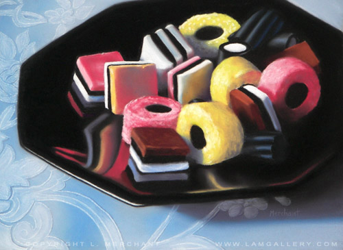 Allsorts Licorice, Soft Pastels, 9x12, 2007.